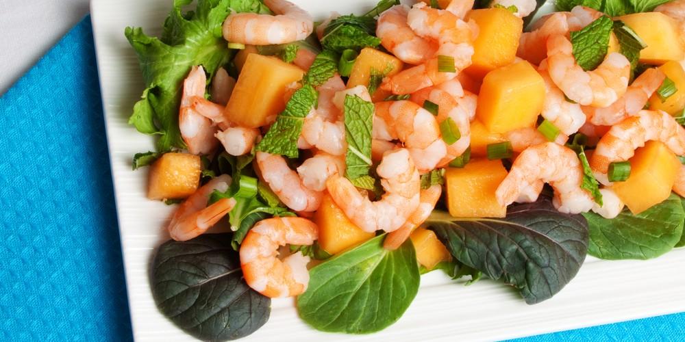 Salade de melon et crevettes