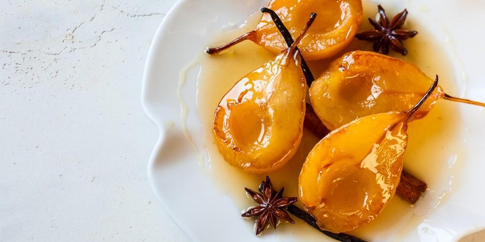 Peras asadas con miel y naranja